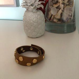 Leather double wrap bracelet.